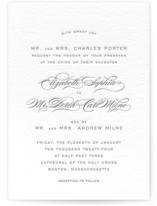 This is a grey letterpress wedding invitation by Kimberly Morgan called Gracieux with letterpress printing on coventry320 in standard.
