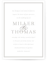 This is a grey letterpress wedding invitation by Sara Hicks Malone called stencil classic with letterpress printing on somerset500 in standard.