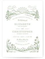 This is a green letterpress wedding invitation by Paper Sun Studio called On The Horizon with letterpress printing on coventry320 in standard.