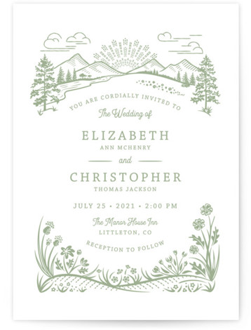 This is a portrait botanical, illustrative, green Wedding Invitations by Paper Sun Studio called On The Horizon with Letterpress printing on 100% Cotton in Classic Flat Card format. A mountain range and prairie flowers are featured in this rustic wedding ...