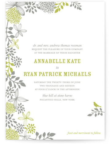 This is a portrait botanical, green Wedding Invitations by Andrea Mentzer called Fling with Letterpress printing on 100% Cotton in Classic Flat Card format. Minted's letterpress wedding invitations are created by independent designers. Each invite is printed on thick, soft ...