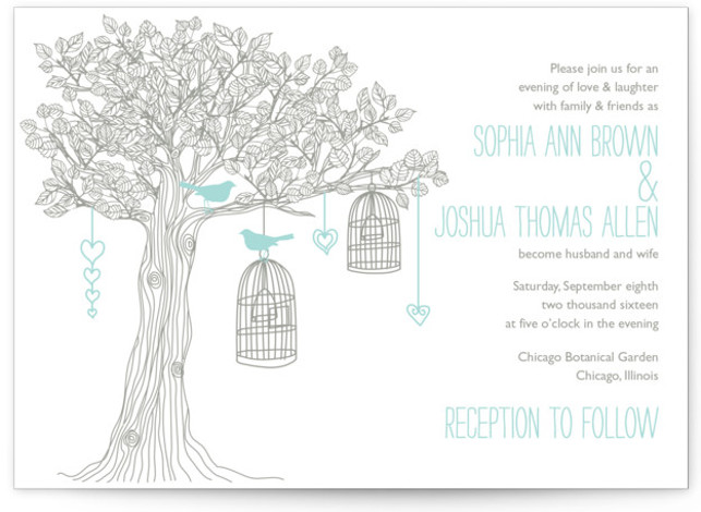 This is a landscape botanical, illustrative, offbeat, whimsical, blue Wedding Invitations by Paisley Tree Press called Love Let Loose with Letterpress printing on 100% Cotton in Classic Flat Card format.