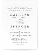 This is a black letterpress wedding invitation by Olivia Raufman called classic composition with letterpress printing on coventry320 in standard.