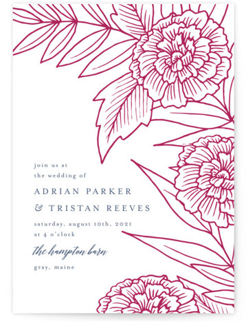 This is a portrait botanical, pink, blue Wedding Invitations by Katharine Watson called Sketched Peonies with Letterpress printing on 100% Cotton in Classic Flat Card format. This design uses a hand drawn floral design to create a unique invitation.