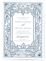 This is a blue letterpress wedding invitation by Katharine Watson called Handmade Ornate Frame with letterpress printing on coventry320 in standard.