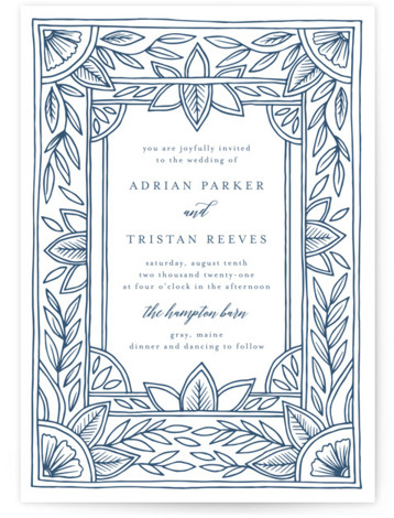 This is a portrait botanical, blue Wedding Invitations by Katharine Watson called Handmade Ornate Frame with Letterpress printing on 100% Cotton in Classic Flat Card format. This design uses a hand drawn ornate border, drawn in pen and digitized, to ...
