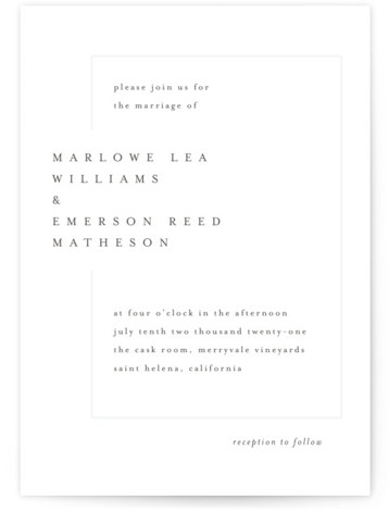 This is a portrait bold typographic, classic formal, simple minimalist, black Wedding Invitations by Kelly Schmidt called Clean and Modern with Letterpress printing on 100% Cotton in Classic Flat Card format. A modern minimalist design featuring clean typography and letterpress ...