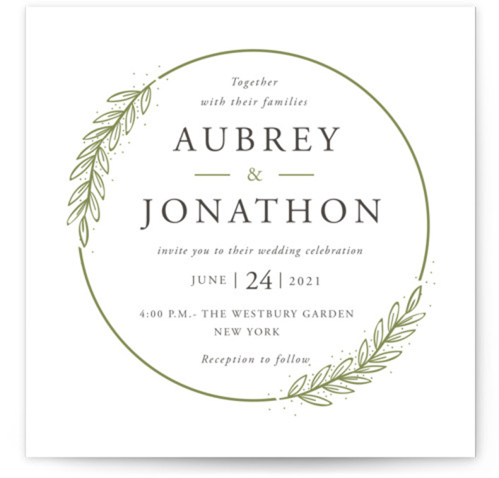 This is a square orientation botanical, green Wedding Invitations by Oma N. Ramkhelawan called Winter's Frame with Letterpress printing on 100% Cotton in Classic Flat Card format. A simple circular framed wreath letterpress design featuring winter branches and light snow. ...