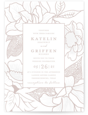 This is a portrait botanical, grey Wedding Invitations by Kaydi Bishop called Botanical Garden with Letterpress printing on 100% Cotton in Classic Flat Card format. Hand drawn modern Japanese inspired botanicals form a floral border around the wedding details.
