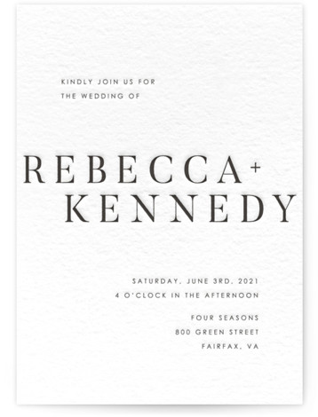 This is a portrait bold typographic, classic formal, simple minimalist, black Wedding Invitations by Halik Helen called austerity with Letterpress printing on 100% Cotton in Classic Flat Card format. Minimalist, elegant invitations