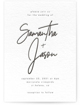 This is a black letterpress wedding invitation by Kelly Schmidt called Modern Script with letterpress printing on coventry320 in standard.