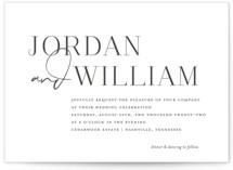 This is a black letterpress wedding invitation by Jessica Williams called Coupled with letterpress printing on somerset500 in standard.