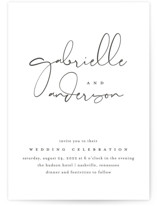 This is a black letterpress wedding invitation by Jessica Williams called Signed and Sealed with letterpress printing on coventry320 in standard.