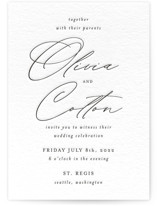 This is a black letterpress wedding invitation by AK Graphics called Black Tie Option with letterpress printing on somerset500 in standard.