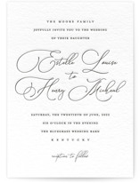 This is a black letterpress wedding invitation by Stacey Meacham called Written Word with letterpress printing on coventry320 in standard.