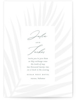 This is a blue letterpress wedding invitation by Lauren Chism called Faded Palm with letterpress printing on coventry320 in standard.