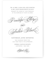 This is a grey letterpress wedding invitation by Design Lotus called Manhattan with letterpress printing on coventry320 in standard.