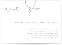 This is a grey letterpress wedding invitation by Christie Garcia called Minimalist Script with letterpress printing on coventry320 in standard.