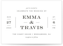 This is a black letterpress wedding invitation by Sandra Picco Design called Delicate Balance with letterpress printing on coventry320 in standard.