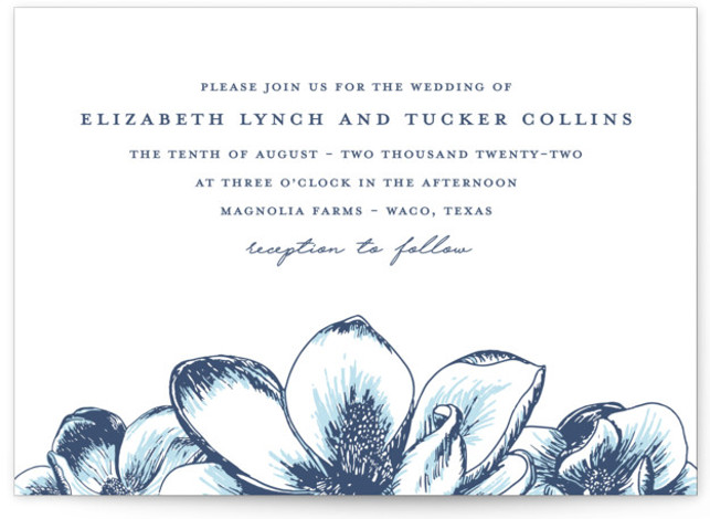 Magnolia Field Letterpress Wedding Invitations