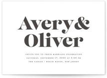 This is a black letterpress wedding invitation by Sandra Picco Design called Yours and Mine with letterpress printing on coventry320 in standard.