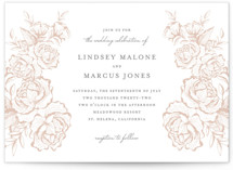 This is a brown letterpress wedding invitation by Jennifer Postorino called In Bloom with letterpress printing on somerset500 in standard.
