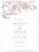 This is a beige letterpress wedding invitation by Grace Kreinbrink called Garden Topper with letterpress printing on coventry320 in standard.