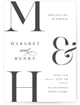 This is a black letterpress wedding invitation by Pixel and Hank called Trio with letterpress printing on somerset500 in standard.