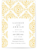 This is a black letterpress wedding invitation by Kanika Mathur called Motif Pattern with letterpress printing on coventry320 in standard.