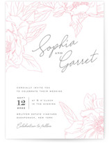 This is a pink letterpress wedding invitation by Nicoletta Savod called Blushing with letterpress printing on coventry320 in standard.
