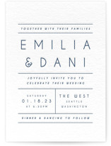 This is a blue letterpress wedding invitation by Camille Robinson called Moderno with letterpress printing on somerset500 in standard.