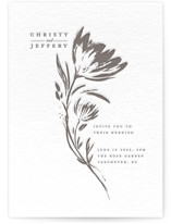 This is a grey letterpress wedding invitation by Vivian Yiwing called Florals with letterpress printing on coventry320 in standard.