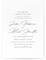 This is a grey letterpress wedding invitation by carly reed walker called Something with letterpress printing on somerset500 in standard.