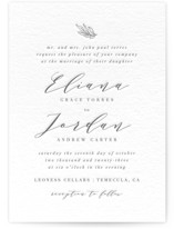 This is a grey letterpress wedding invitation by Olivia Raufman called Just Lovely with letterpress printing on coventry320 in standard.