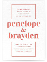 This is a orange letterpress wedding invitation by Erin Deegan called Bolder with letterpress printing on somerset500 in standard.