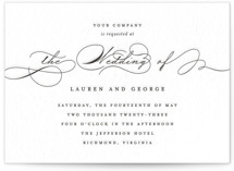 This is a black letterpress wedding invitation by Kimberly FitzSimons called Flutter with letterpress printing on coventry320 in standard.