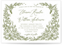 This is a green letterpress wedding invitation by Grae called Eden with letterpress printing on coventry320 in standard.