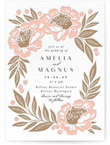 This is a pink letterpress wedding invitation by Alethea and Ruth called Peony Wreath with letterpress printing on somerset500 in standard.