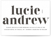 This is a black letterpress wedding invitation by Up Up Creative called Senses with letterpress printing on somerset500 in standard.