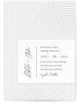 This is a grey letterpress wedding invitation by Four Wet Feet Studio called Art Deco with letterpress printing on coventry320 in standard.