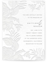 This is a beige letterpress wedding invitation by Haley Warner called Floral Border with letterpress printing on coventry320 in standard.