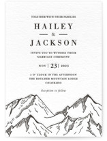 This is a black letterpress wedding invitation by Winston Latchman called Etched Mountain with letterpress printing on coventry320 in standard.