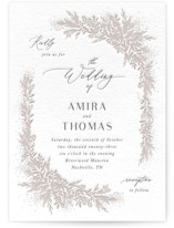 This is a grey letterpress wedding invitation by Jennifer Postorino called Romantic Whisper with letterpress printing on coventry320 in standard.