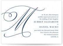 This is a blue letterpress wedding invitation by Jennifer Postorino called MODERN MONOGRAM with letterpress printing on somerset500 in standard.