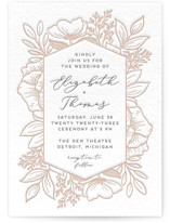 This is a grey letterpress wedding invitation by Genna Blackburn called Fresh Flowers with letterpress printing on somerset500 in standard.