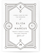 This is a grey letterpress wedding invitation by Genna Blackburn called Deco Impression with letterpress printing on somerset500 in standard.