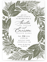 This is a green letterpress wedding invitation by Alethea and Ruth called Leafy Frame with letterpress printing on somerset500 in standard.