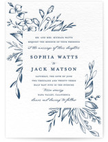This is a blue letterpress wedding invitation by Susan Moyal called Everlasting with letterpress printing on coventry320 in standard.