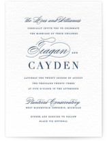 This is a blue letterpress wedding invitation by Design Lotus called destined with letterpress printing on somerset500 in standard.