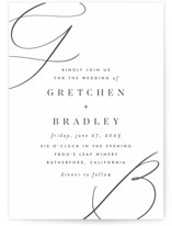 This is a black letterpress wedding invitation by Carolyn Nicks called script initials with letterpress printing on somerset500 in standard.